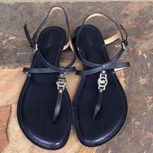 Michael Kors navy leather Bethany sandals